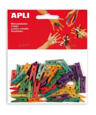 Bolsa minipinzas madera colores surtidos- APLI - 13479