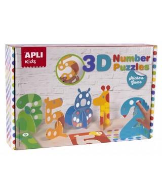 Juego puzle de gomets 3D NUMEROS - APLI - 14591