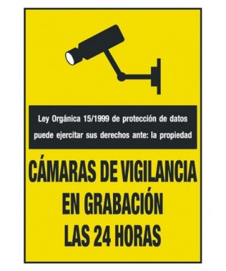 "Cartel ""CAMARA DE VIGILANCIA 24 HORAS""- ARCHIVO 2000 - 6172-09 AM"