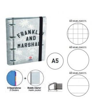 Carpeta equipada Ringbook FRANKLIN AND MARSHALL tamaño A5, 4 anillas-